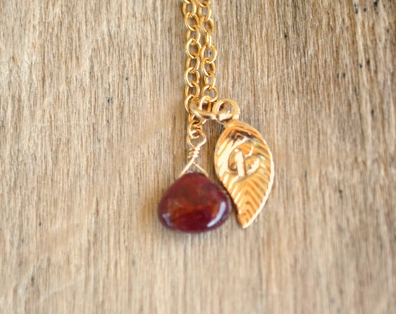 Personalized Ruby Birthstone Necklace With Handstamped initial