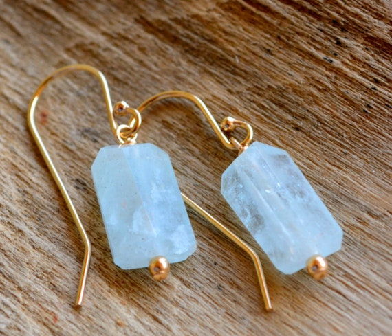 Dainty Raw Aquamarine Crystal Earrings