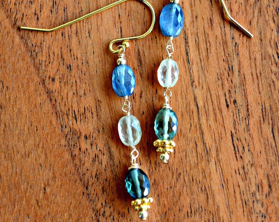 Sapphire Earrings ~ Long Dangle Earrings