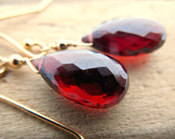 AAA Quality Garnet Drop Earrings
