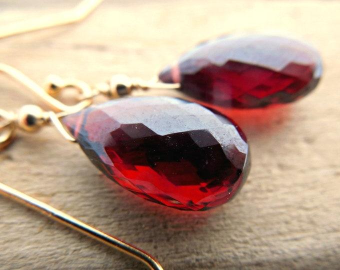 AAA Quality Garnet Drop Earrings
