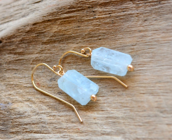 Raw Aquamarine Crystal Earrings | March Birthstone