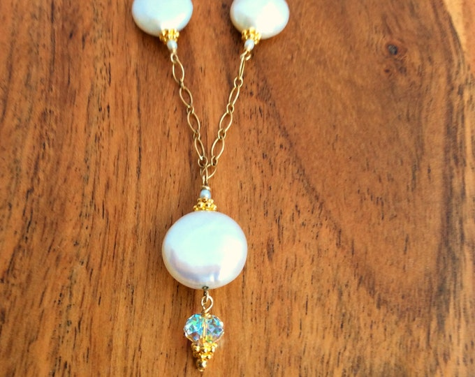 Gold Pearl and Crystal Necklace