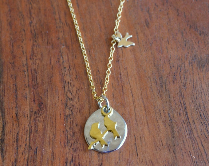 Gold Bird Charm Necklace