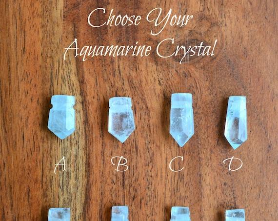 Raw Crystal Birthstones ~ Blue Aquamarine Necklace
