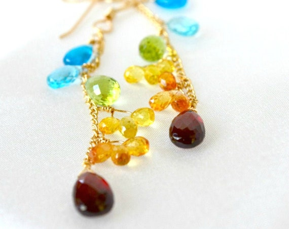 Sapphire, Apatite, Peridot Garnet Multi Gemstone Earrings