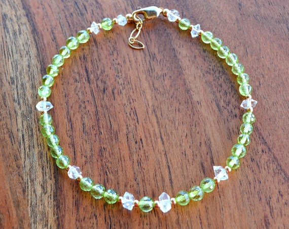 Peridot Beaded Bracelet ~ Country Wedding