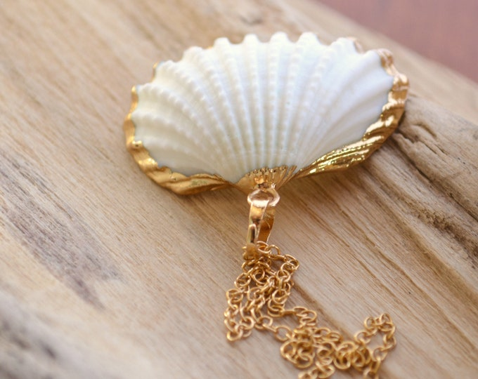 White Seashell Pendant ~ Beach Bridal Jewelry