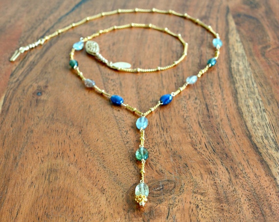 Multi Colored Sapphire Necklace ~ Bohemian Jewelry