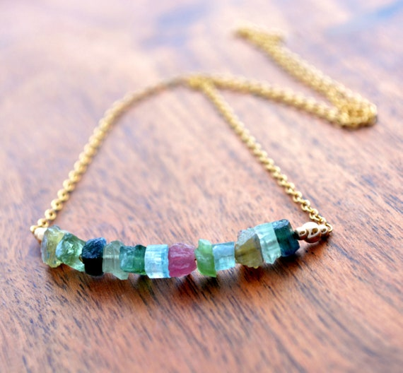 Raw Watermelon Tourmaline Bar Necklace | Nugget Gemstone Jewelry