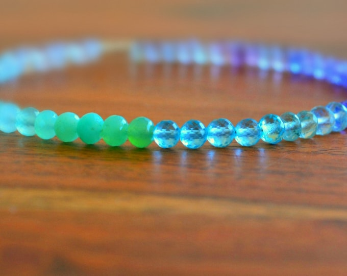 Beaded Multi Gemstone Bracelet | Moonstone Jewelry | Apatite and Tanzanite Cuff