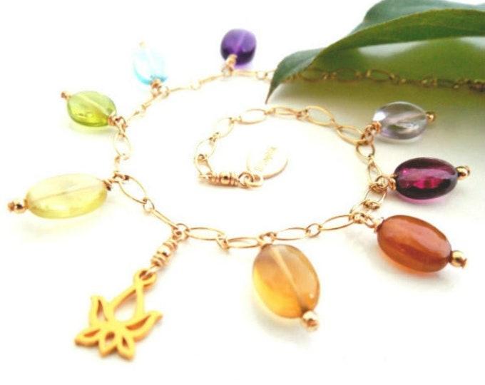 Gemstone Bracelet | Lotus Charm Gift | Rainbow Jewelry