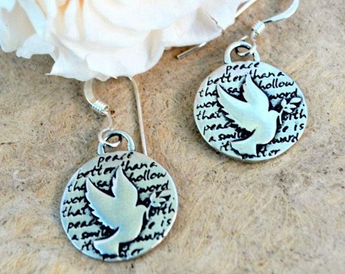 Silver Dove Bird Earrings