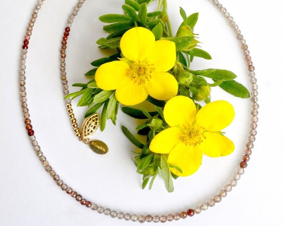 Natural Zircon Necklace | Vintage Beaded Jewelry | Gifts for Mom