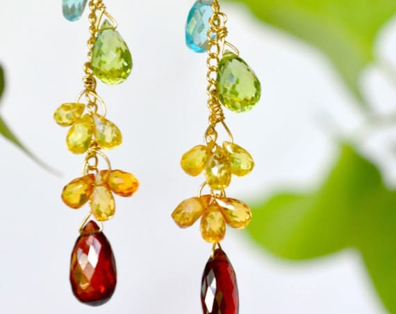 Gift for Matron of Honor ~ Multi Gemstone earrings