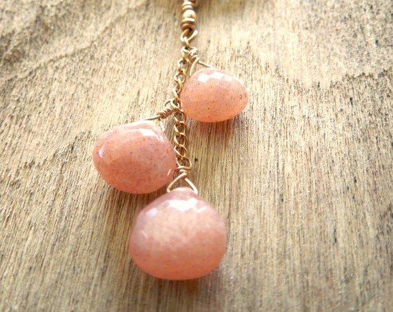 Peach Moonstone Gemstone Necklace