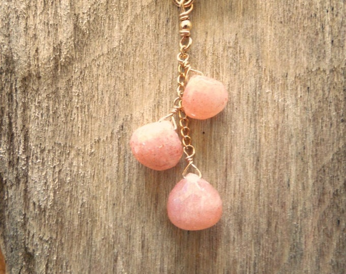 Peach Moonstone Necklace - June Birthstone