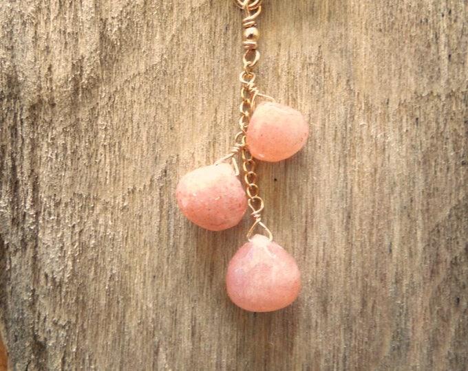 Peach Moonstone Necklace - June Birthstone