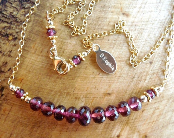 Garnet Bar Necklace