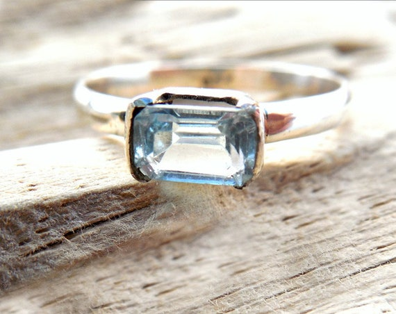 Blue Topaz Birthstone Ring - Aquamarine Color