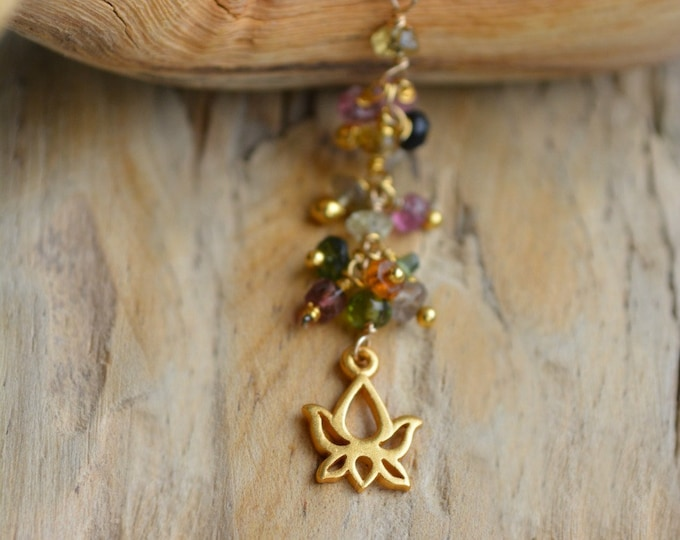 Boho Chic Necklace With 24k Gold Vermeil Lotus