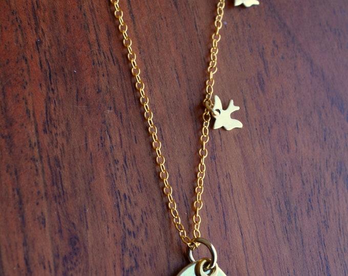 Tiny Bird Charm Necklace