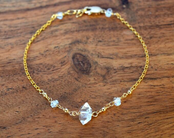 Raw Crystal Bracelet ~Herkimer Diamonds