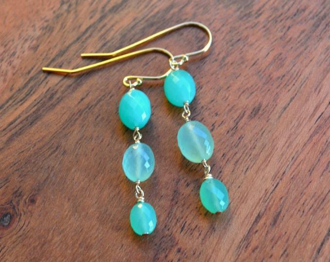 May Birthstone   Chrysoprase Earrings   Gemstone Jewelry Gifts