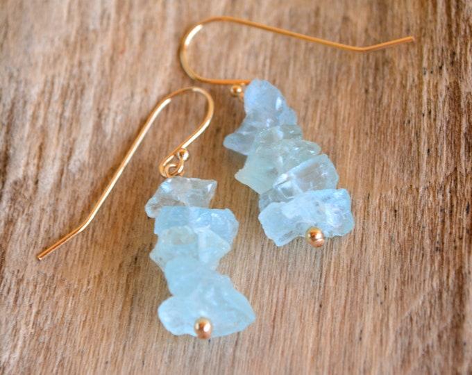 Raw Aquamarine Cluster Earrings