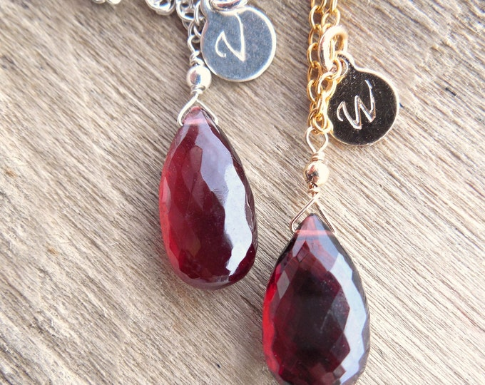 Personalized Garnet Necklace ~ January Birthstone Gift