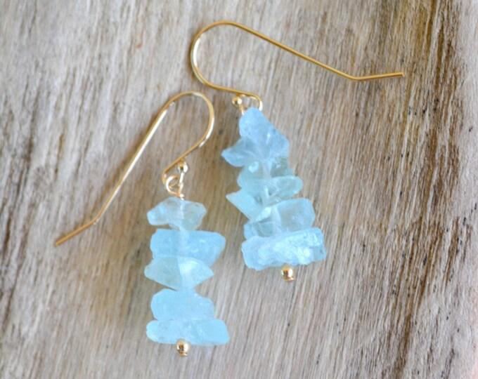 March Birthstone Gift | Raw Aquamarine Earrings