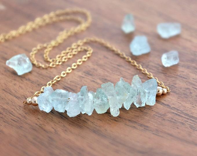 Protection Necklace ~ Raw Aquamarine Gemstones