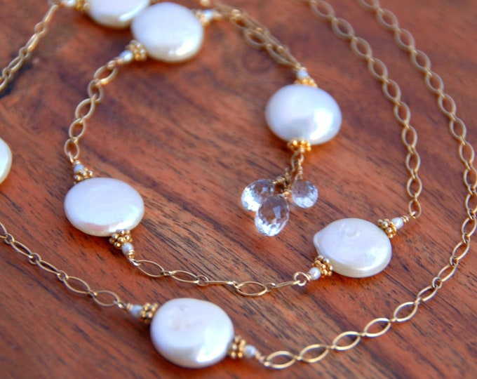 Long Pearl Necklace | Crystal and Freshwater Pearl Pendant | June Birthday Gift