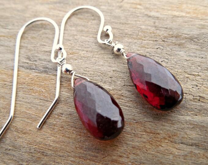 Garnet Earrings With Sterling Silver
