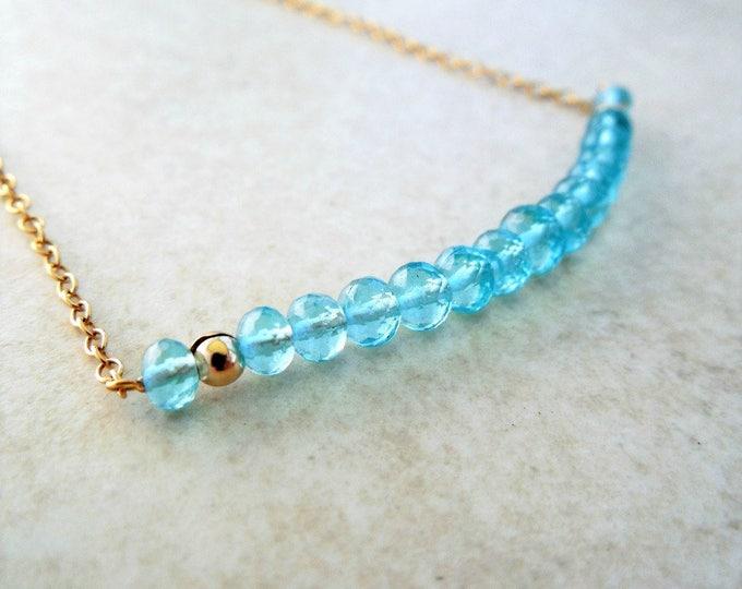 Gorgeous Blue Apatite Bar Necklace