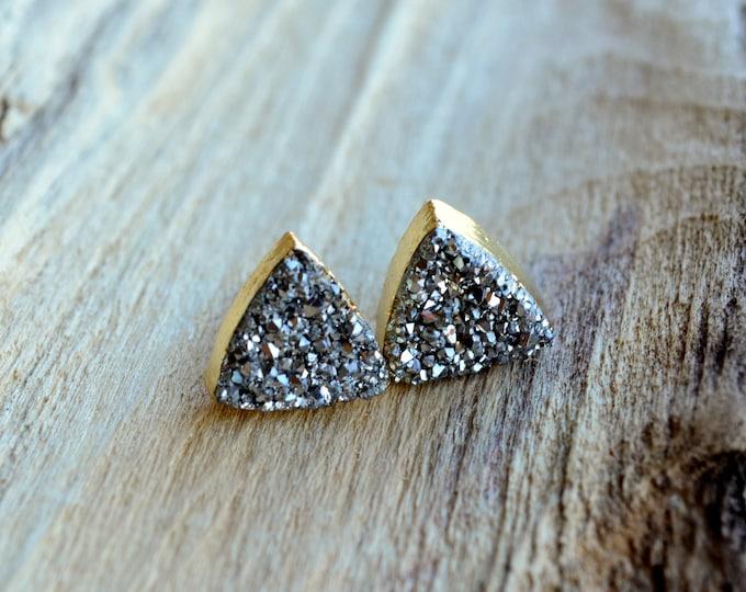 Boho Chic Wedding ~ Gunmetal Silver Druzy Earrings