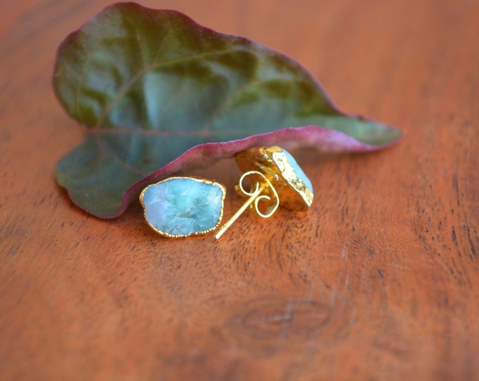 Raw Emerald Studs | May Birthstone Stud Earrings | Mothers Day Jewelry Gift