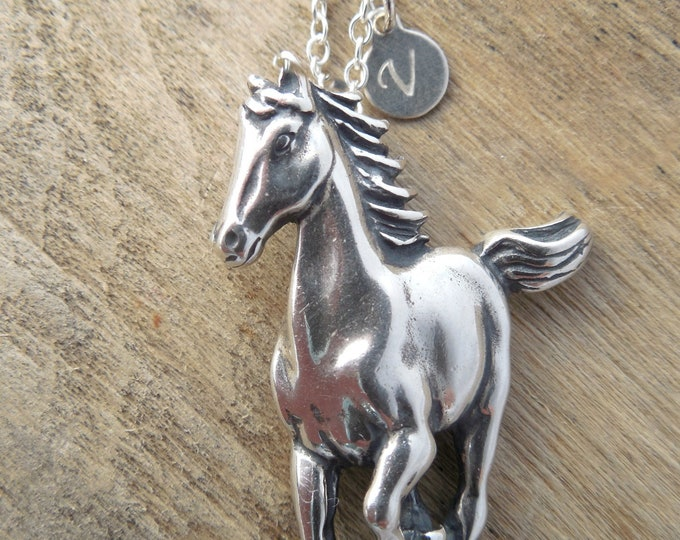 Customized Equestrian Jewelry with Silver Initial Tag