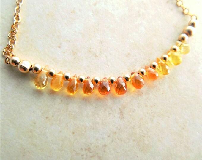 Gemstone Sapphire Bar Necklace