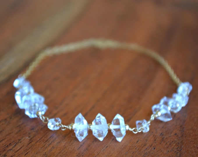 Raw Crystal Bracelet | Herkimer Diamond Jewelry | April Birthstone | Birthday Gift for Her