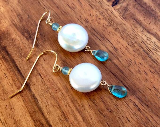 White Coin Pearl Earrings - Bridesmaid Thank You Gifts