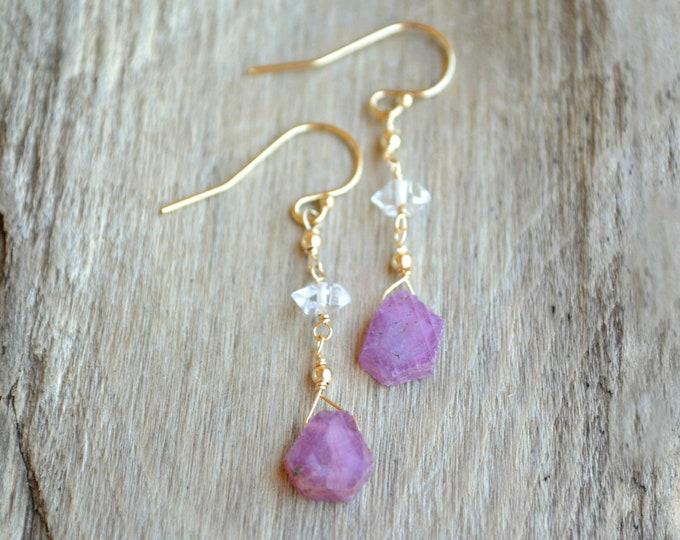 Raw Ruby Earrings