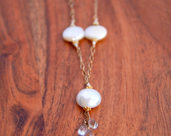 Crystal and Pearl Necklace | Long Pearl Drop Pendant | Mothers Day Gift