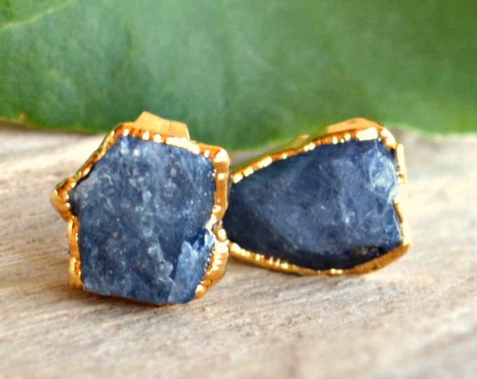 Raw Sapphire Earrings ~ September Birthstone