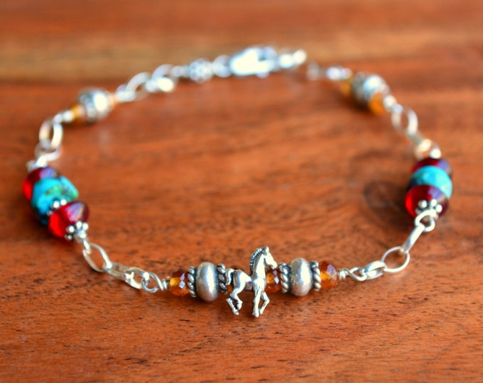 Horse Charm Bracelet | Turquoise Chain Cuff | Gift for Daughter