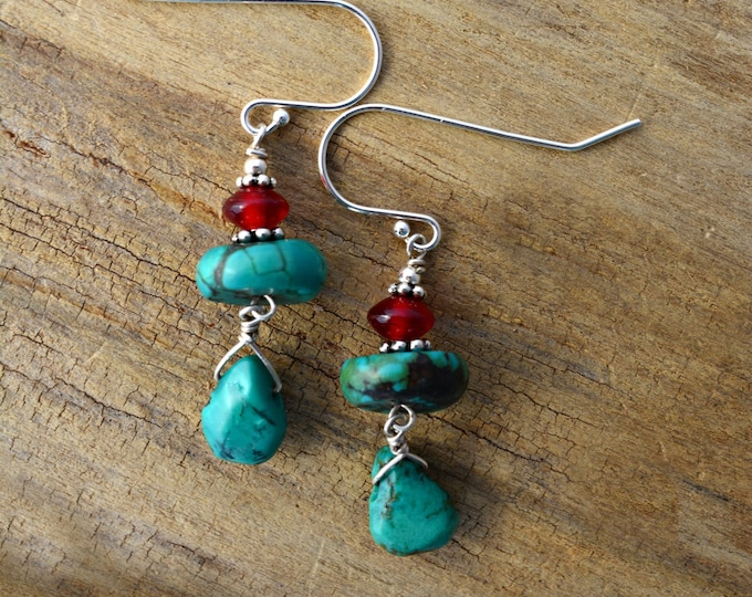 December Birthstone Earrings ~ Turquoise and Sterling Silver