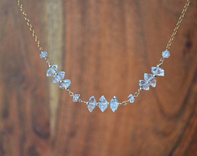Raw Crystal Necklace | Herkimer Diamond Jewelry | Dainty Bar Necklace | Raw Birthstone Gift | April Birthday Present