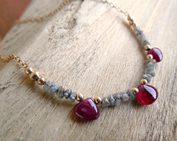 Undyed Ruby Necklace With Raw Diamonds