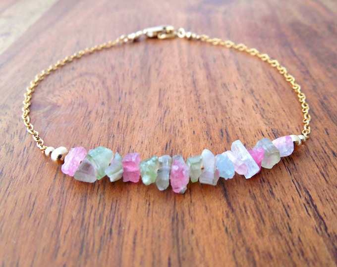 Raw Watermelon Tourmaline Bracelet