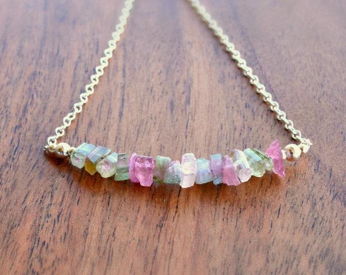 Raw Birthstone Gifts | Tourmaline Crystal Necklace